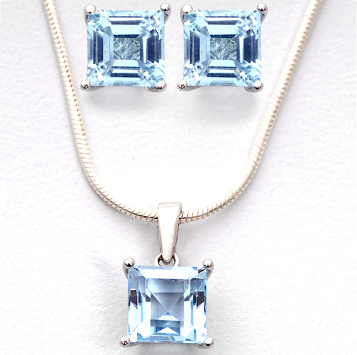 Square Blue Topaz Earrings and Necklace Set