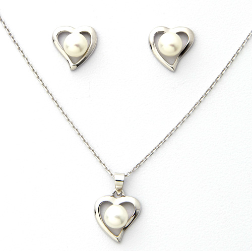 Sterling Silver Pearl Earrings and Necklace