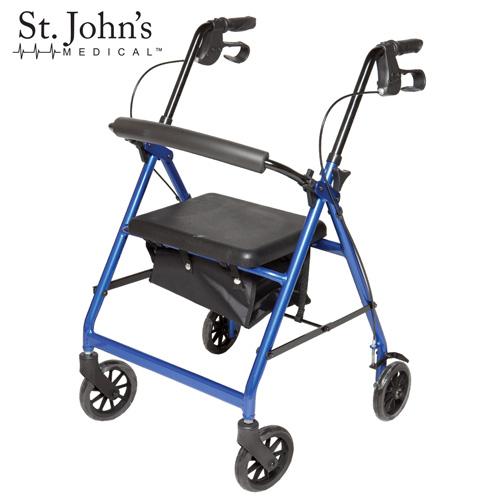 St John's Medical Premium Rolling Walker - Blue
