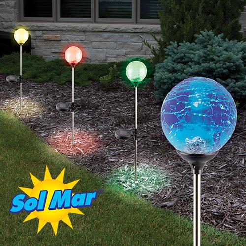 4PK Crackled Solar Color Lights