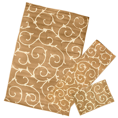 Brown Swirl 3-Piece Rug Set