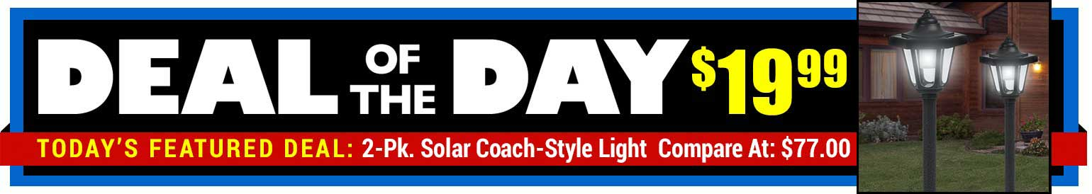 75% Off 2-Pk. Coach Style Solar Lights - Compare At $77.00 - Deal of the Day $19.99