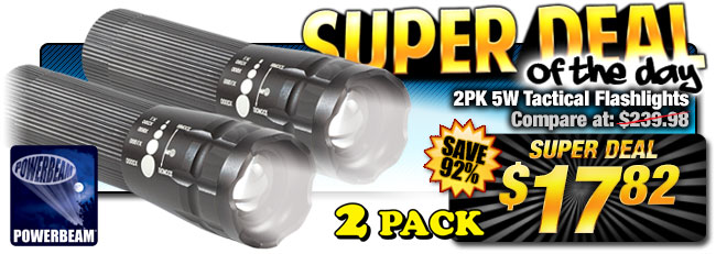92% Off 2-Pk. LED Tactical Flashlights - Compare at $239.98 - Super Deal $17.82