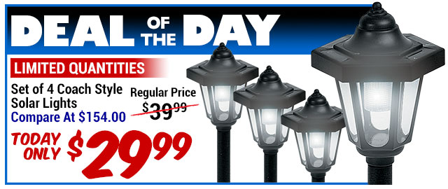 81% Off 4-Pk. Coach Solar Lights - Compare at $154.00 - Deal of the Day $29.32