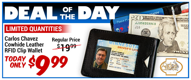 86% Off Carlos Chavez RFID Clip Wallet - Compare at $67.95 - Deal of the Day $9.99
