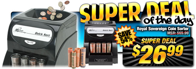 60% Off Royal Sovereign Coin Sorter - Compare at $65.99 - Super Deal $26.99