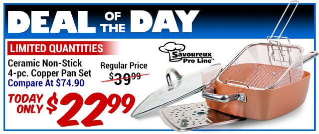 64% Off Ceramic Copper Pan Set - Compare At $74.90 - Deal of the Day $26.99