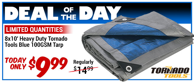 34% Off Heavy Duty Tornado Tools Tarp - WAS $14.99 - Deal of the Day $9.99