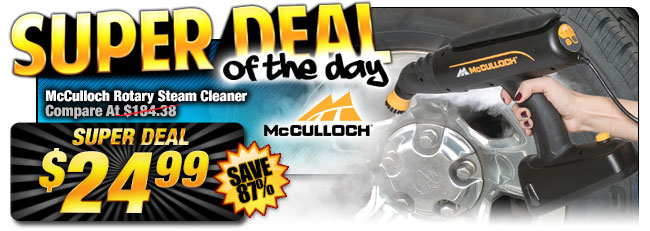 87% Off McCulloch Rotary Steam Cleaner - Compare At $184.38 - Super Deal $24.99
