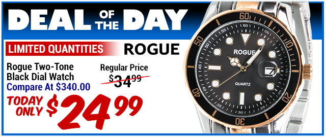93% Off Rogue Two-Tone Black Dial Watch - Compare At $340.00 - Deal of the Day $24.99