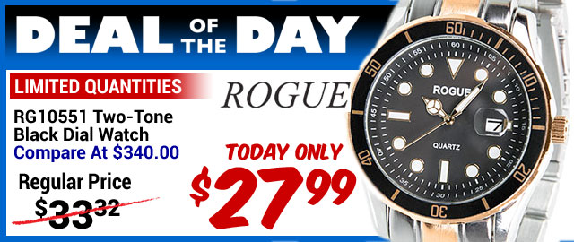 92% Off Rogue Two-Tone Black Dial Watch - Compare At $340.00 - Super Deal $27.99