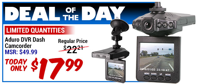65% Off Aduro DVR Dash Camcorder - MSR $49.99 - Deal of the Day $19.99