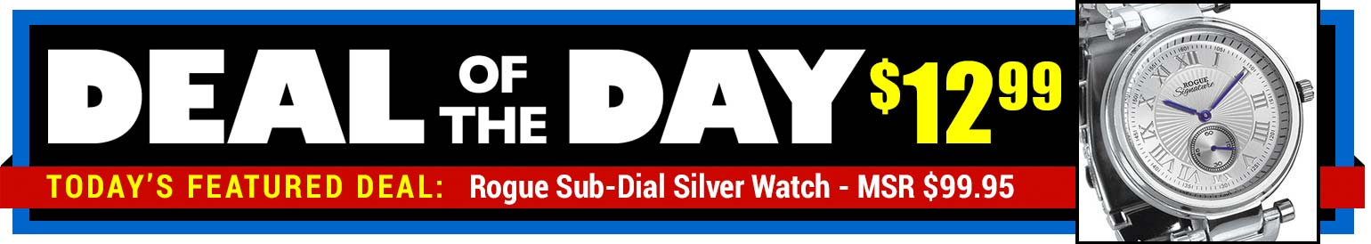 88% Off Rogue Sub-Dial Silver Watch - MSR $99.95 - Deal of the Day $12.99