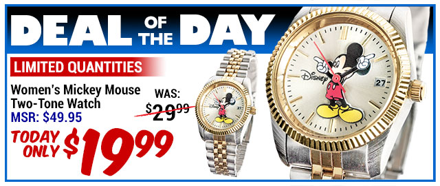 60% Off Mickey Mouse Two-Tone Watch - MSR $49.95 - Deal of the Day $19.99