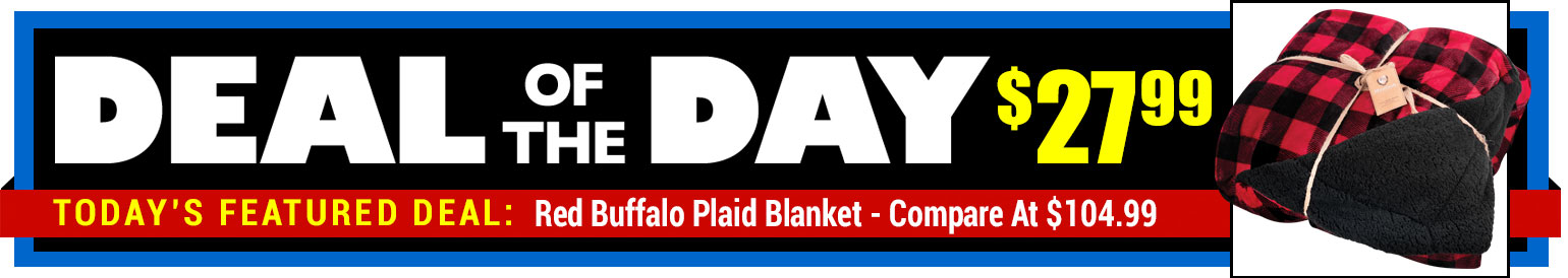 76% Off Northpoint Red Buffalo Plaid F/Q Blanket - Compare at $104.99 - Deal of the Day $27.99